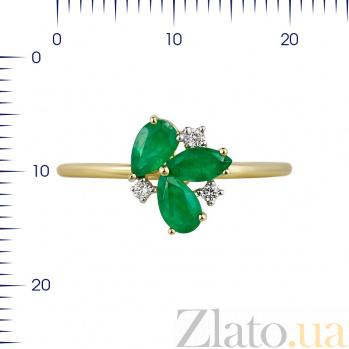 Кольцо из желтого золота Фиона с изумрудами и бриллиантами 000080984