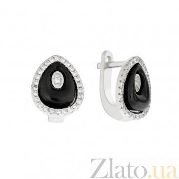 Серебряные серьги Черная капля с керамикой и кристаллами циркония 000096525