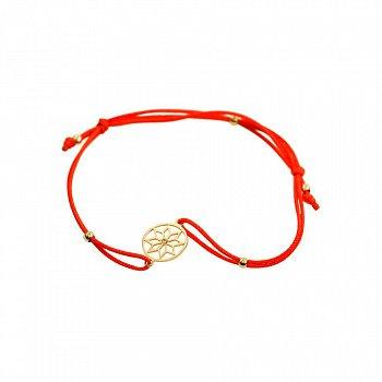 Браслет из золота и красной нити с цирконием 000081291