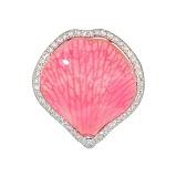Серебряное кольцо с эмалью и фианитами Лепесток орхидеи