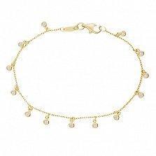 Золотой браслет Пиреум в желтом цвете с фианитами