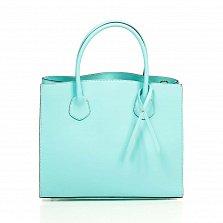 Кожаная деловая сумка Genuine Leather 8983 бирюзового цвета на магнитной кнопке с подвеской из кожи