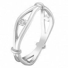 Золотое кольцо Всевидящее око в белом цвете с завальцованными фианитами