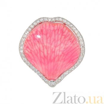 Серебряное кольцо с эмалью и фианитами Лепесток орхидеи 3К379-0001