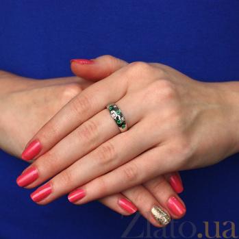 Серебряное кольцо с бриллиантами и изумрудами Mosaic ZMX--RDE-6048-Ag_K