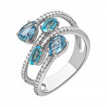Серебряное кольцо  с кварцем под лондон топаз, голубым кварцем и фианитами 000063381