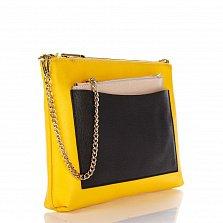 Кожаный клатч Genuine Leather 7808 желтого цвета с черным накладным карманом и цепочкой