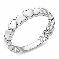 Серебряное кольцо Сердечки с фигурной шинкой