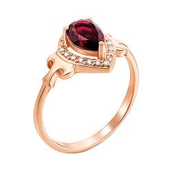 Кольцо из красного золота с рубином и фианитами 000135271