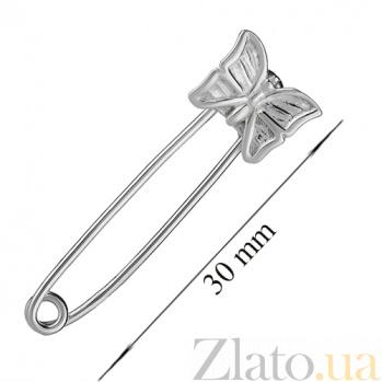 Серебряная булавка бабочка LEL--09216