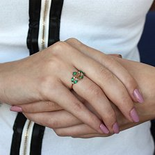 Золотое кольцо с хризопразом Ажур