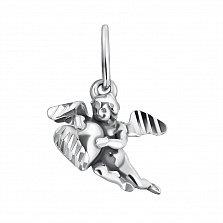 Серебряная подвеска Купидон с насечкой на крыльях и сердце