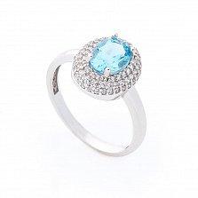 Золотое кольцо Майя в белом цвете с голубым топазом и фианитами