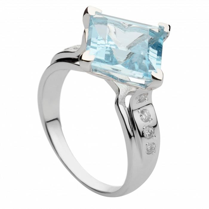 Золотое кольцо с топазом и бриллиантами Лорри 000030326