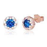 Серебряные сережки-гвоздики с синими фианитами Венона