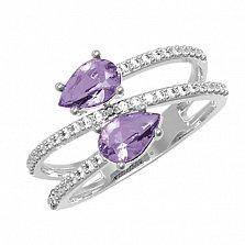 Серебряное кольцо Белла с аметистом и фианитами