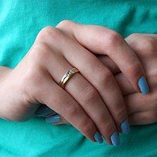 Золотое обручальное кольцо Лёд и пламя с фианитами