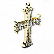 Золотой декоративный крест Светлый ангел с бриллиантами