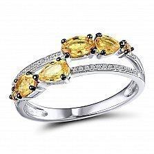 Кольцо из белого золота Иветта с бриллиантами и сапфирами