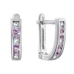 Серебряные серьги с фиолетовыми и белыми фианитами 000123032