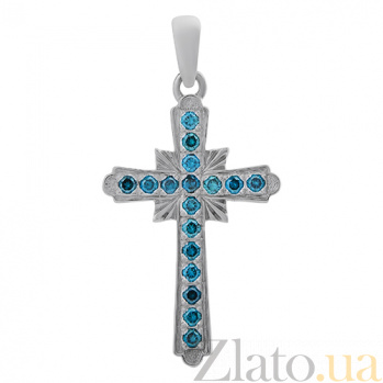 Золотой крестик с голубыми бриллиантами Небесное сияние 000026494