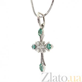 Серебряный крестик с изумрудами и бриллиантами Рим 000030738