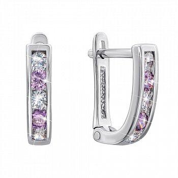 Срібні сережки з фіолетовими та білими фіанітами 000123032