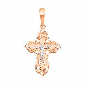 Золотой крестик в комбинированном цвете с фианитами 000010458
