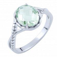 Серебряное кольцо Джовита с зеленым аметистом