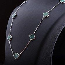 Серебряное колье Ноелия с малахитами в стиле Ван Клиф