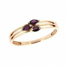 Золотое кольцо Милания с тремя рубинами
