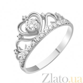 Золотое кольцо с бриллиантами Каприз королевы KBL--К1052/бел/брил
