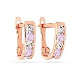 Золотые серьги Дормео со светло-розовыми и белыми фианитами