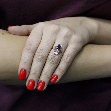 Кольцо в красном золоте Лейла  с наносапфиром и фианитами