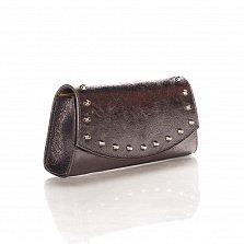Кожаный клатч Genuine Leather 1692 цвета розовый кофе с декоративными элементами и цепочкой