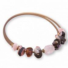 Чокер с розовым кварцем, агатом, горным хрусталём и кристаллами Swarovski