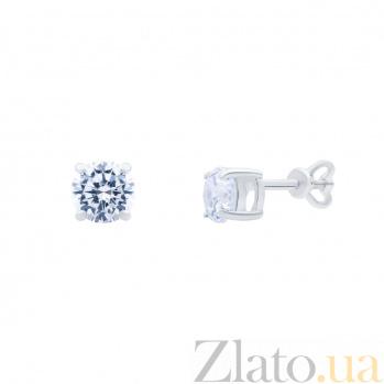 Серебряные серьги гвоздики с белым цирконом Капли росы AQA-72301б