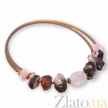 Чокер с розовым кварцем, агатом, горным хрусталём и кристаллами Swarovski К0145