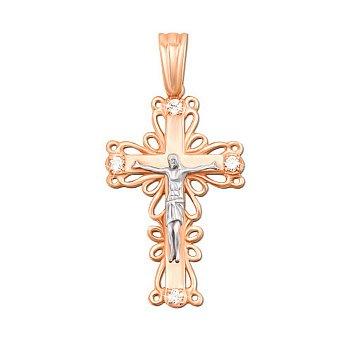 Золотой крестик Божий дар в комбинированном цвете с фианитами 000106380