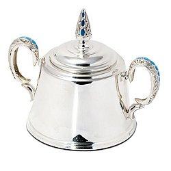 Серебряная сахарница Лакомка с эмалью