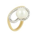 Золотое кольцо с жемчугом и бриллиантами Надин