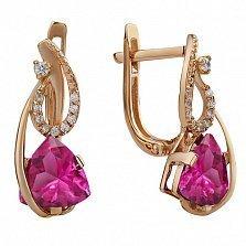 Золотые серьги с розовым топазом и фианитами Гретхен