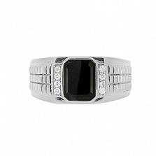 Серебряный перстень Джемал с гематитом и бриллиантами