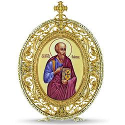 Серебряная икона Святой апостол Павел с позолотой, фианитами и цветной эмалью