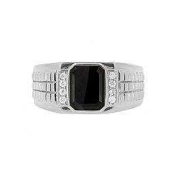Серебряный перстень Джемал с гематитом и бриллиантами 000050780