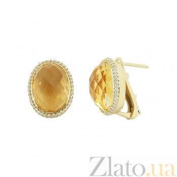 Золотые серьги с цитринами и бриллиантами Солнечное утро 000032320