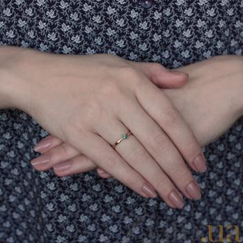 Помолвочное кольцо из красного золота Мираж с изумрудом 000068773