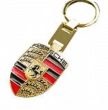 Золотой брелок Porsche с цветной ювелирной эмалью