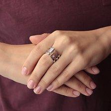 Серебряное кольцо Лабиринт с фианитами