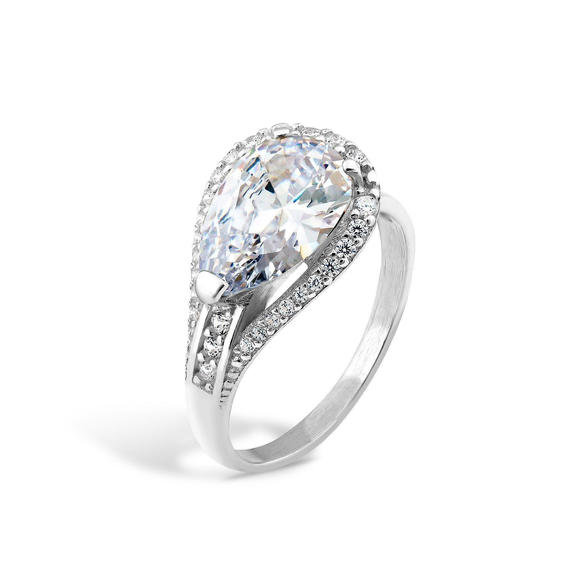 Серебряное кольцо Полианна с фианитами и родием